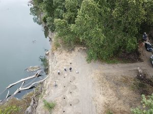 Overhead view of High Sierra Electronics' REMS Levee Erosion Detection System on Sacramento River
